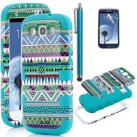S3 Case, ULAK 3in1 Hybrid High Impact Green Hard Aztec Tribal Pattern + Blue Silicone Case Cover For Samsung Galaxy S3 i9300 +Screen Protector +Stylus