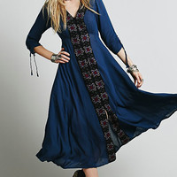 Dark Blue Embroidered Midi Dress