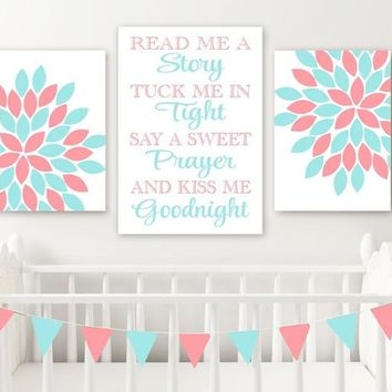 Aqua Coral Flower Quote Wall Art, Coral Aqua Girl Nursery Wall Decor CANVAS or Prints, Read Me a Story Kiss Me Goodnight Set of 3 Pictures