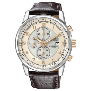 Citizen CA0331-13A Men's Eco-Drive Two Tone Brown Leather Strap Textured White Dial Chronograph Watch