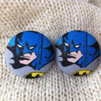 Batman Earrings, Covered Button Earrings, Stud Earrings made with Licensed Batman Fabric, Cosplay Jewelry