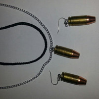 Nickel Silver 9mm ammo necklace and earring sets with silver chain
