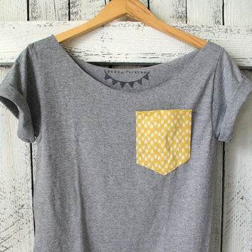 FREE SHIPPING - Off Shoulder Shirt, Mustard Yellow Pocket, Arrow Pocket Shirt, Hipster Style, Women, Teen girls