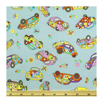 VW Beetles beetle bug steering wheel cover volkswagen herbie floral car hippy retro cotton multi coloured
