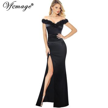Elegant Sexy 3D Flower V Neck Off Shoulder Ruched High Slit Split Backless Formal Evening Maxi Dress
