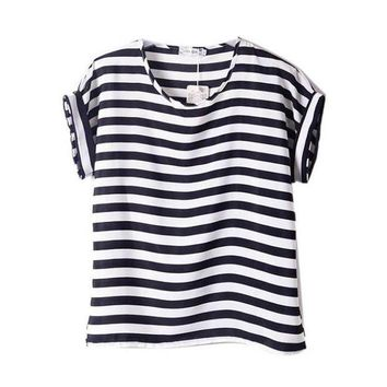 PEAPGC3 Chiffon T-Shirts Ladies Loose Short Sleeve Shirts Striped Heart Lip Tops Batwing Sleeve Sexy
