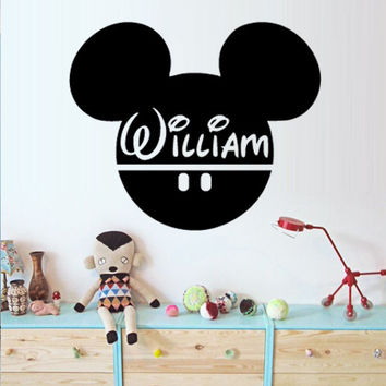 Mickey Mouse Wall Decal Vinyl Sticker Decals Art Decor Disney Custom Baby Name Head Mice Ears Mickey Mouse Gift Kid Children Nursery (m1374)