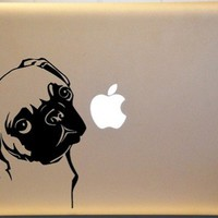 Adorable Pug Vinyl Decal for Macbook PC Laptop or Window Wall Decor
