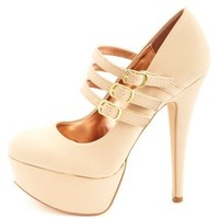 Anne Michelle Triple Mary Jane Platform Pumps - Nude