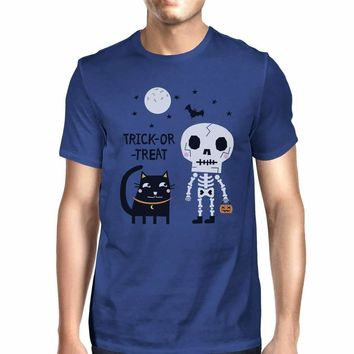 Trick-Or-Treat Skeleton Black Cat Mens Royal Blue Shirt