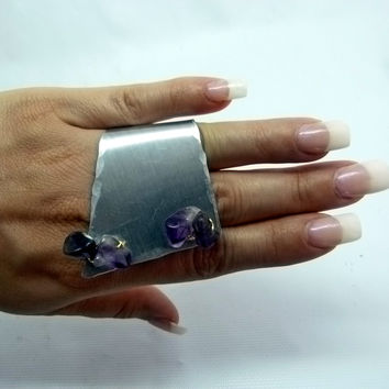 Amethyst ring, modern abstract design , statement jewelry , adjustable rings , high fashion art ring , monica retana