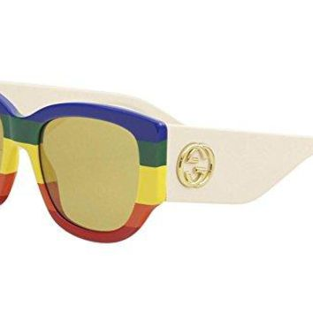 Gucci GG 0276S 006 Blue Green Yelow Red Plastic Square Sunglasses Brown Lens