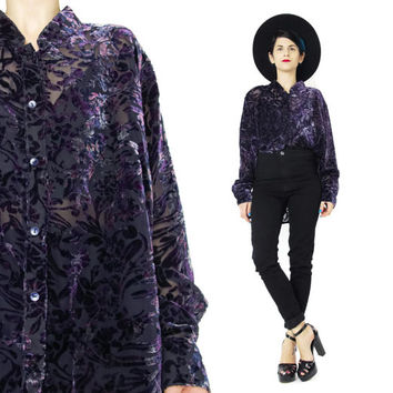 90s Burnout Velvet Shirt Sheer Floral Velvet Blouse Vintage Womens Button Down Long Sleeve Shirt Grunge Top Boho Black and Purple Top (XL)