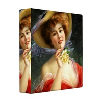 Victorian Style 3 Ring Binder, Lady in Red Book, 4 Sizes Available (Large, Black Interior)