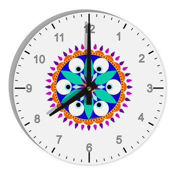 "Evil Eye Protection Mandala 8"" Round Wall Clock with Numbers by TooLoud"