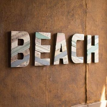 "Painted Recycled Wood ""Beach"" Letters"