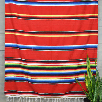 Southwest Woven Blanket - Vintage Mexican Serape Blanket -  Bohemian Striped Throw Blanket - Red with Primary Colors