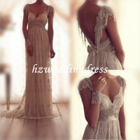 New Charming A-line V-neck Sequins Floor-Length Backless Lace Wedding Dress, Wedding Gowns, Bridal Gowns, Wedding Dresses