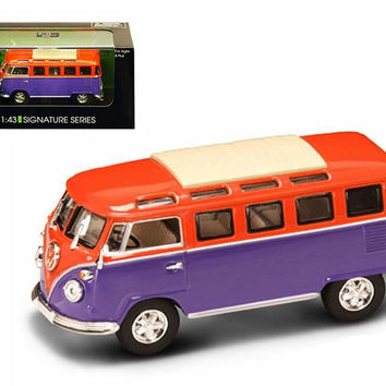 1962 Volkswagen Microbus Van Bus Orange-Purple 1-43 Diecast Car by Road Signature