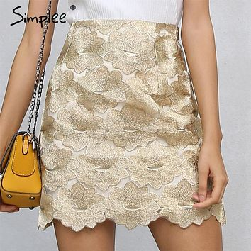 Simplee High waist embroidery skirts womens bottom Short boho style chic pencil skirt female Vintage flower sexy mini skirt