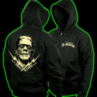 Halloweentown Store: Frankenstein Electrodes Mens Zip Up Hoodie