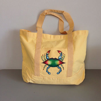 Canvas Tote Bag with Hand Painted Blue Crab