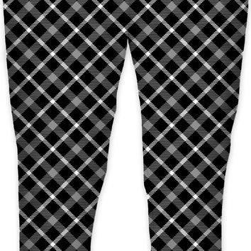 Black and white scottish tartan, buffalo plaid pattern joggers design, retro style jogging pants