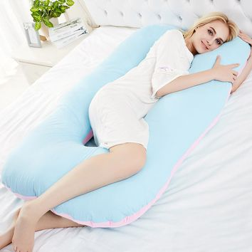 SunnyRain 1-Piece Cotton Pregnancy Pillow Belly Contoured Maternity U-Shaped Body Pillows for Side Sleeper