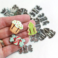Cyber Monday Sale - 6 Christmas Candy Scrapbook Ribbon Brads perfect for card making, scrapbook embellishments or crafting projects