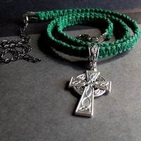 Celtic Cross Necklace:  Kelly Green Macrame Cord Mens Hipster Necklace, Bohemian Unisex Jewelry, Man Gift