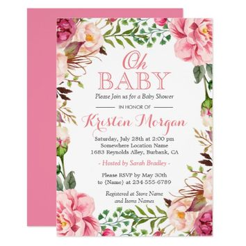 Oh Baby Shower Girly Elegant Chic Pink Flowers Card
