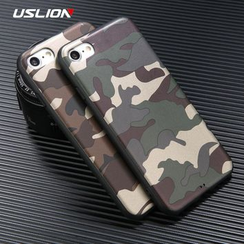 USLION Phone Case For iPhone 8 Plus Fashion ArmyGreen Camouflage Soft TPU Back Cases Full Protect Cover For Apple iPhone8