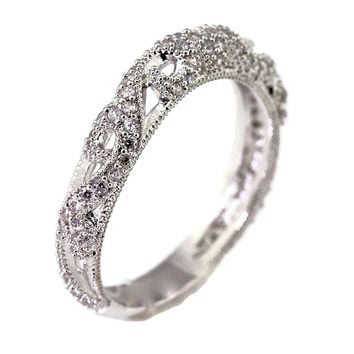 Matching Wedding Band for Hand Carved Blooming Rose Flower CZ Cubic Zirconia Engagement Ring