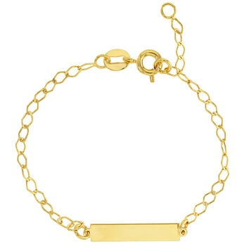 18k Gold Plated Classic Tag ID Adjustable Bracelet Children Kids 5.5""