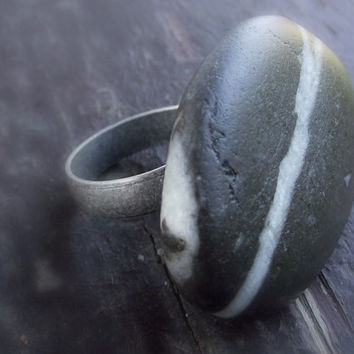 Beach  ring. Black and white striped rock.  Natural rock from the Mediterranean sea. Sea pebble ring.