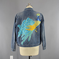 Vintage Style Denim Jacket with Aqua Blue Peacock Embroidery / Embroidered Jean Jacket  / Size Large L