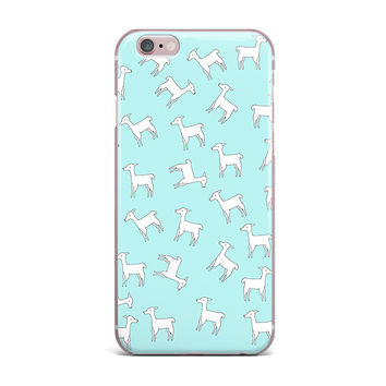 "Monika Strigel ""Baby Llama Multi"" Blue White iPhone Case"