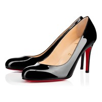 Best Online Sale Christian Louboutin Cl Simple Pump Black Patent Leather 85mm Stiletto Heel Classic