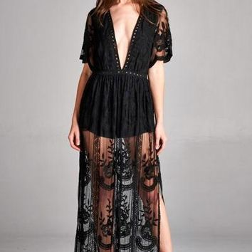 Merinda Embroidered Lace Maxi Dress