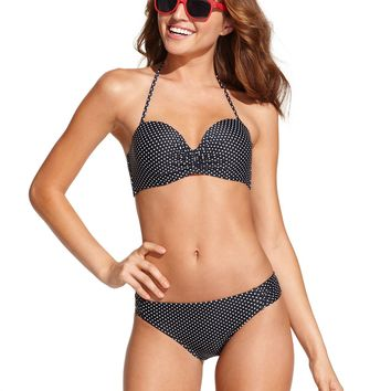 California Waves Polka-Dot Push-Up Bikini Top & Side-Tab Bikini Bottom