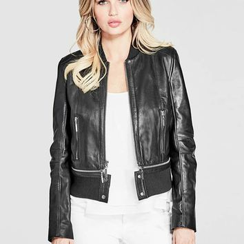 Marcie Leather Bomber Jacket at Guess