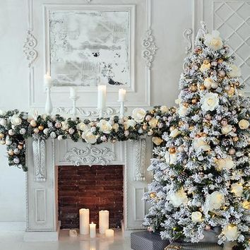 Elegant White Christmas Tree Decorations and Fireplace Platinum Cloth Backdrop - 6x8 - LCPC4663 - LAST CALL