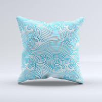 Seamless Blue Waves  Ink-Fuzed Decorative Throw Pillow