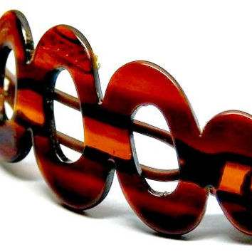 Antique Celluloid Tortoise Shell Hair Barrett Clip