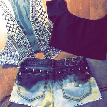 Dip Dyed Studded Black Lace Up Denim Cut Offs Size 25