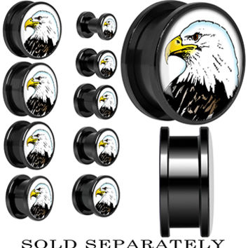 Proud Bald Eagle Screw Fit Plug in Black Anodized Titanium | Body Candy Body Jewelry