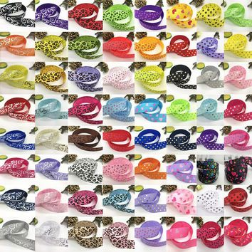 NEW 5 Yards 1 Inch 25mm Print Various Pattern Grosgrain Ribbon Hair Bow Sewing Crafts 80 colors Pick