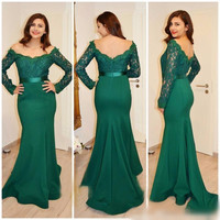 Lace Green Prom Dresses,Long Sleeve Prom Dresses,Long Evening Dress