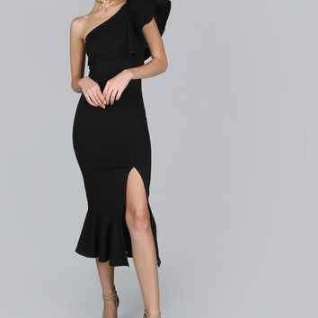 One Shoulder Frill Peplum Dress BLACK | MakeMeChic.COM