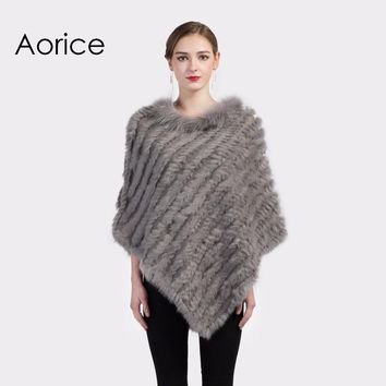 CK702 Real Knitted rabbit  Shawl poncho stole shrug cape robe tippet wrap  with raccoon fur collar women  warm coat/outwear